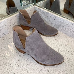 EUC Lucky Brand suede perforated grey booties